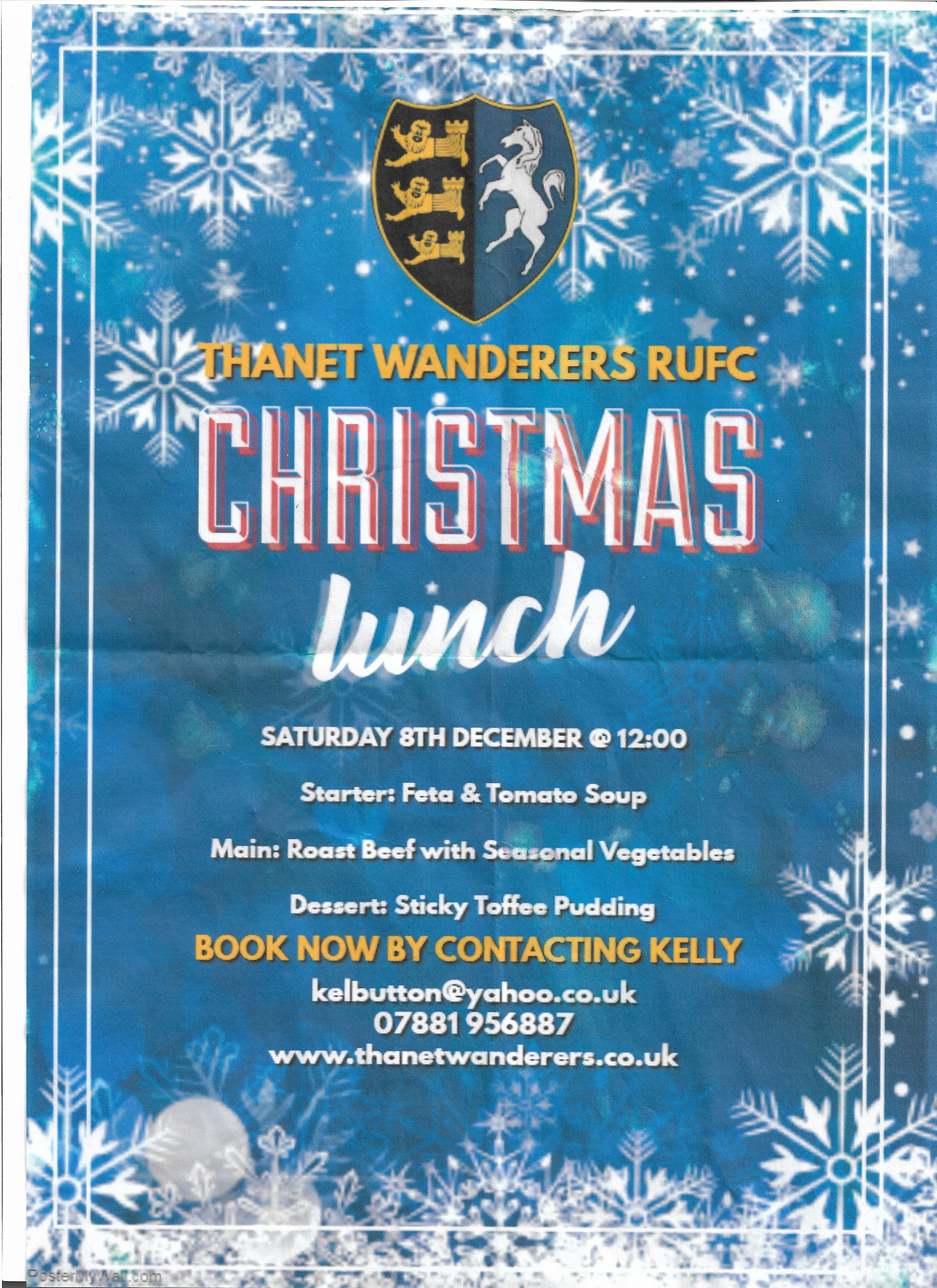 CHRISTMAS LUNCH 8TH DECEMBER
