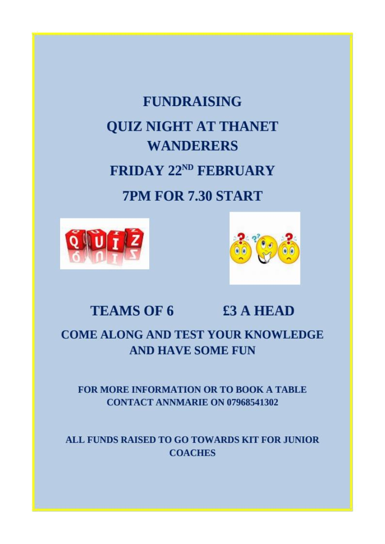 FUNDRAISING QUIZ NIGHT AT THANET WANDERERS