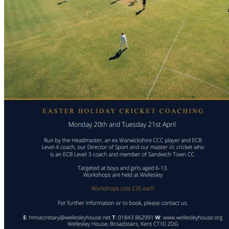 Image for the Wellesley House Easter Cricket Coaching news article